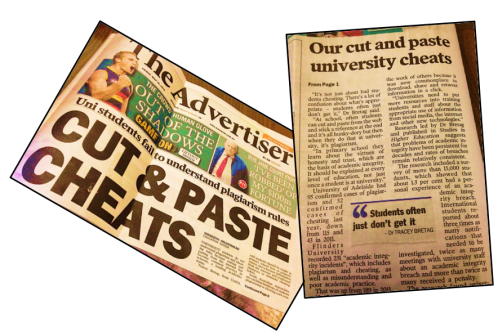 Sheradyn Holderhead's article in 'The Advertiser', p.1 and p.6