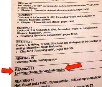 One of my old subject readers from Uni, including referencing guide.